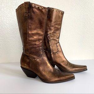 BCBG Bronze Metallic Leather Western Cowboy Boots